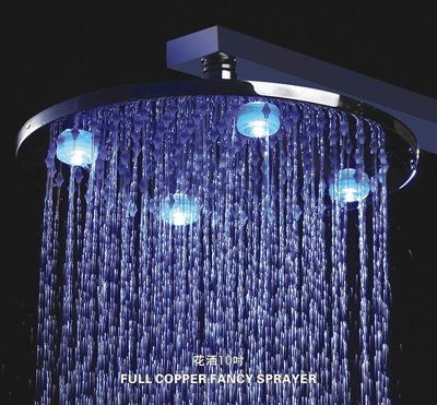 10 Inch Chrome Brass Shower Head With 4 LED Lights With a Shower Arm (L-4208A)(China (Mainland))