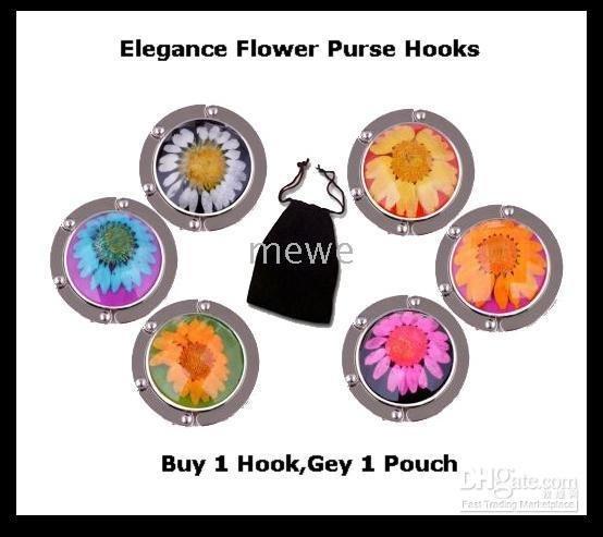 Bag Hooks Hangers New Folding Purse Hanger Elegance Floral Handbag Hook,Black Velvet Pouch Included(China (Mainland))
