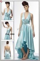 sample no train evening dress1030 halter blue real