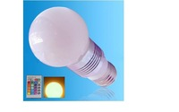 IR Remote controlled RGB LED bulb;dimmable;E27 Base;3*1W;Bridgelux Chip