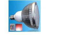 IR Remote controlled RGB LED PAR38 spotlight;dimmable;E27 Base;9*3W;Bridgelux Chip