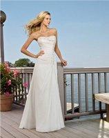 Free Shipping!!!Wholesale - cheap wedding dresses! white chapel train sheath strapless  wedding dresses/bridal gowns