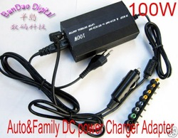 Universal Laptop Home AC / Car 12V DC Power Charger Adaptor 100W for notebook - sample(China (Mainland))