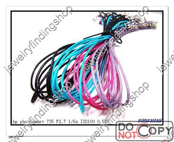 multicolor waxed necklace cord 18KGP connector 18 fast shipping 1000strings(China (Mainland))
