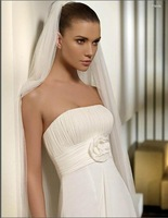 Free shipping good a-line backless wedding dress with lace jacket / wedding gown