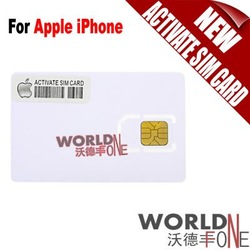Wholesale - FREE SHIPPING!!! 200PCS/Lot New Mobile Activate SIM Card For Apple iPhone 4 3G 3GS (WF-ASC1)(Hong Kong)