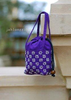 Lovely Hand Embroidered Ladies Mini Tote Bag Drawstring Bag Makeup Bag 50pcs Free Shipping