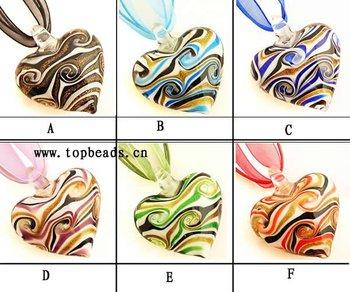 Handmade Lampwork Glass Heart Shape Goldsand, 100pcs/lot