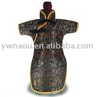 cheong-sam Brocade Wine Bottle Cover,Wine Bottle clothes 1 lot saling for mix color Free Shipping