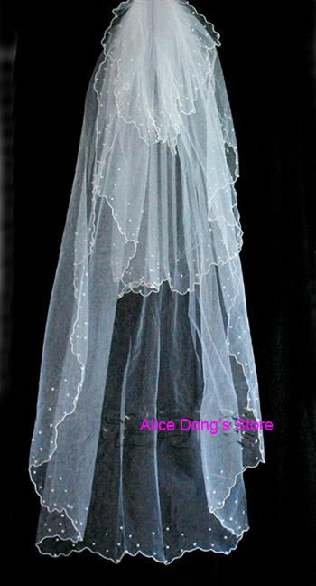 3 layer bead veils | bridal veil | wedding veil+Gift&Free Shipping(China (Mainland))