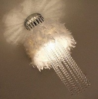 Free Shipping feather  ceiling lamp Lustre Home Luminaire crystal Ceiling Lights Fixture  White Kids Bedroom  Lamp