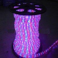 100m/roll LED 3 wires flat rope light;30leds/m;size:11mm*18mm;DC12V/24V/AC110/220V are optional;R+G+Y+B color