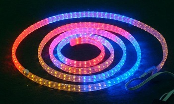 100m/roll LED 4 wires flat rope light;30leds/m;size:11mm*22mm;DC12V/24V/AC110/220V are optional;R+G+B color