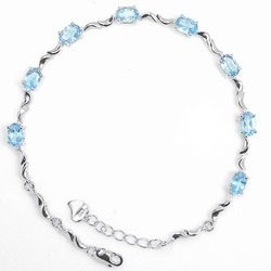 Free shipping! Natural blue topaz with 925 silver plated 18k white gold chain bracelet ,#02(China (Mainland))
