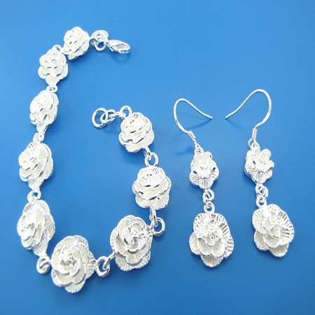 925 Sterling silver necklace and earring set free shipping(China (Mainland))
