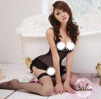 Free shipping--Sheer Garter Top + T + net stockings sexy pants set / sexy underwear
