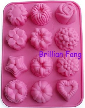 Free shipping + Silicone Cake Mold/Muffin Cupcake Pan- Multiple Flowers, 50pcs/lot