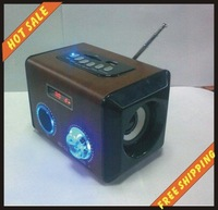 Free shipping--High quality and free shipping mini speaker system for cell phone computer MP3 MP4 player psp etc with FM -MD-96