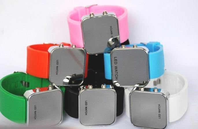 Watch,LED Mirror watch,odm watch high-quality big face square 50pcs for Free Shipping HNB13910(China (Mainland))