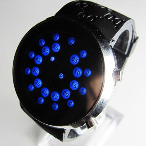 2010 Unique Design Blue LED Dot Matrix Men's Sport Watch(China (Mainland))