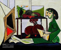 Abstract oil paintings,Pablo Picasso Paintings,Famous oil paintings,Interior with a Girl Drawing(China (Mainland))