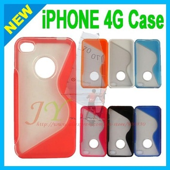 for iphone 4 hard case pc +tpu & Free Shipping