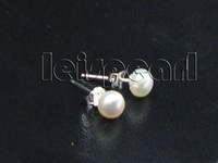 AAA wholesale 3-4mm white pearl earring 925 sterling silver studs free shipping