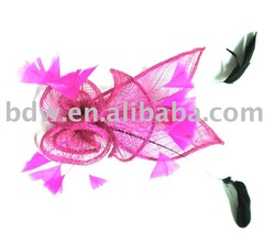 Free shipping new linen&Feather Hair fascinator wholesale and retail(Hong Kong)