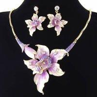purple flower rhinestone wedding crystal jewelry set NJ-194 18K gold  tone Neoglory Jewelry Outlets Rihood Jewelry