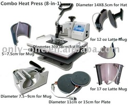 8 IN 1 Tshirt/Mug/Cap/Plate Combo heat press machine,Heat press,Sublimation machine,Press machine,Heat transfer machine(China (Mainland))