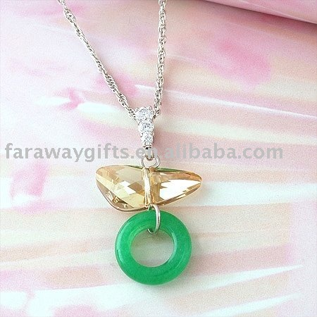 Wing crystal w/jade pendant necklace(China (Mainland))