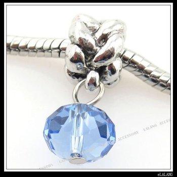 10xBlue Crystal Alloy Charms Beads Fit Bracelets 150476