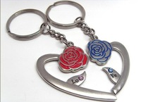 romantic alloy key chain lovers heart with double flowers in it Gift& free ship