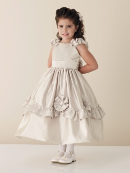 2010 new style beauty champagne satin flower girl dress ,flower girl dresses BZ0820003