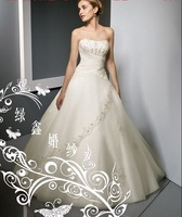 free shipping NEW Arrival women's Wedding Dress with Ruffles With crystal bud trailing Wedding Dresses dress