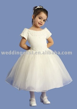 wholesale/retail flower gril dress white organza FLW82302