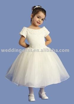 wholesale/retail flower gril dress white organza FLW82302