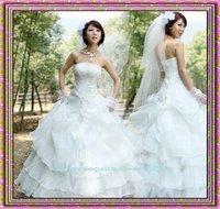 free shipping 2010 new fashion bridal wedding dress silk lady gown princess  temperamental dress