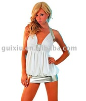 Wholesale Sexy Deep V Clubwear with Mini Dress White One-piece Evening Dance Dresses I8035