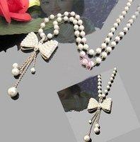Cute Butterfly Knots Pearl Long Necklace Bead Sweater Chain Tassels Pendant Women's Brand New 10pcs/lot