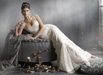 2010 lastest elegant organza mermaid cap sleeveless appliqued lace bridal dresses , wholesale, BZ0827084