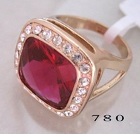 Free Shipping; Can mix build; Super Garnet & Topaz 18kgp rose gold  ring. Can mix and match. Easy Buy