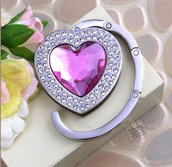 Alloy bag hanger! GBG0072, purple heart, holding purse hook, bag hanger, promotion gift