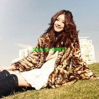 new 2014 Fashion women coat luxury Winter jacket Leopard fur coat faux fur coat outerwear sale price free shipping