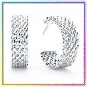 wholesale retail popular jewelry silver earrings with box pouch bag and gift bag 5sets