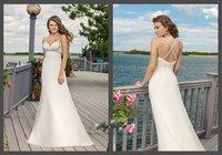 ML6301*Free Shipping White Tulle Beaded Spaghetti Shealth Empire Rhinestone Wedding Gown Bridal Apparel