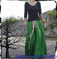 S0001 Free shipping high quality women's fashion Bohemia style Custom made Linen long skirt