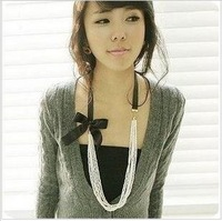 Free shipping necklace chain Multi beaded pearl necklace black bow sweater chain 31g