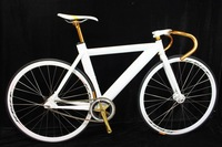 Fixed gear  road bicyle bike alloy bicycle alloy bike single speed color white gold and black