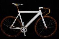 Fixed gear  bicyle bike road bike color white gold black sigle speed
